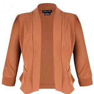 City Chic Cropped Drapey Blazer Jacket NWT Ginger